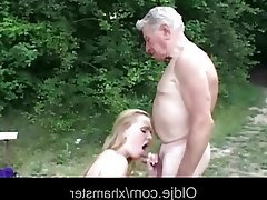 Big Boobs Blonde Blowjob Old and Young Outdoor